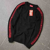 """""""Supreme"""" Couple Casual Letter Print Long Sleeve Pullover Sweatshirt Top Sweater Black I-A-XYCL"""