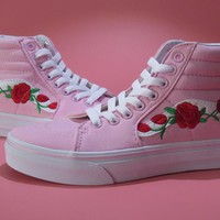 Vans AMAC Custom Rose Embroidery Pink Skateboarding Shoes 35-39