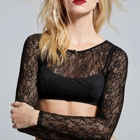 Love, Courtney by Nasty Gal Burn Black Lace Top