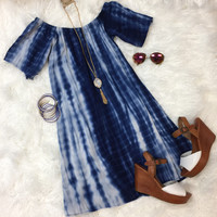 Off the Shoulder Tye Dye Dress: Blue