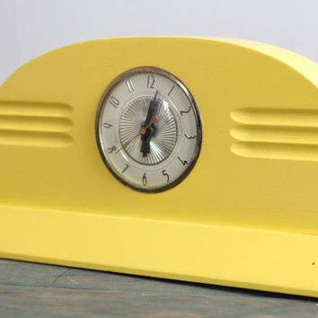 Retro Bright Yellow Book Shelf Mantle Clock