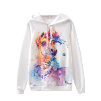 USPS Women Printed hoody Long Sleeve Fleece Leaf Print Hoodies Sports Blouse T-Shirt Hooded Hoody Tops Skateboarding Hoodies #11