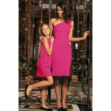 Fuchsia Hot Pink Stretchy Spring Summer Party Mommy and Me Dress