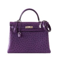 Hermes Kelly 35 Ostrich Rare Purple Violine Jewel Palladium Hardware