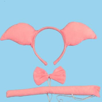 Cartoon Ping Pig Ear Headband Bow Tie Tail Cosplay Animal Costume Set Party Performance Props for adult and children