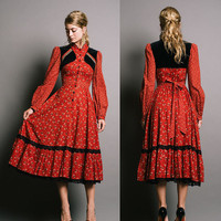 GUNNE SAX Vintage 1970s Russian Red Folk Dress