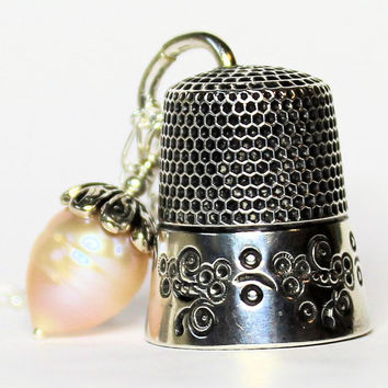 Antique Thimble and Acorn Hidden Kisses Necklace Peter Pan and Wendy
