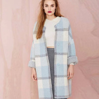 Blue Plaid Long-Sleeve Knitted Coat
