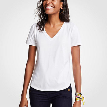 Pima Cotton V-Neck Tee | Ann Taylor