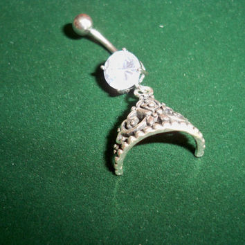 crowned princess belly button ring from sindys on etsy epic