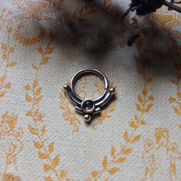 "Septum ""Moon Stone"" piercing ring"