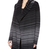 Women's Striped Blanket Sweater Jacket - Vince - Black/Graphite