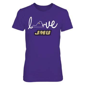 James Madison Dukes - Love With State Outline - T-Shirt - Officially Licensed Fashion Sports Apparel