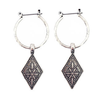 Wordly Wisdom Hoop Earrings In Silver
