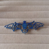 Closing sale- dark blue  bat vampire   brooch  pin - gothic, lolita