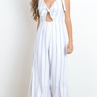 Ground Game White Blue Vertical Stripe Sleeveless V Neck Cut Out Wide Leg Jumpsuit (Pre-Order)