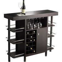 Philmore Drinks Bar Espresso Black Tempered Glass