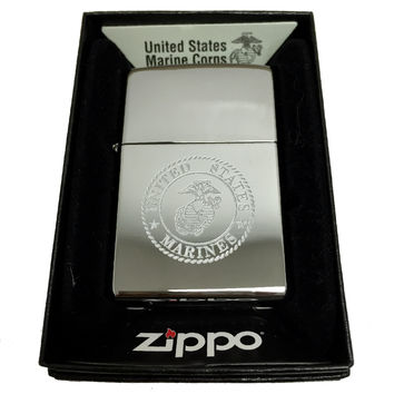 Zippo Custom Lighter - United States Marines Lazer Engraving with Earth Anchor Eagle Logo - Regular High Polish Chrome 250MP156300