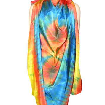 Spectacular 60s Huget HIPPIE SILK Hand Painted Scarf Pareo Shawl Sarong - One of a Kind Tie Dyed Effect in Blue Yellow Orange and Green
