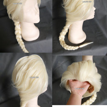 Disney movie Frozen Queen Elsa  pale blonde long braid cosplay wig with windows peak