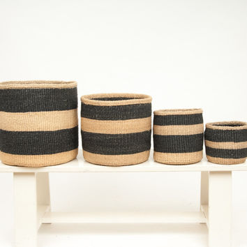 Charcoal and Sand Woven Storage Basket