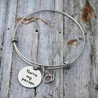 Alex And Ani Bracelet - Personalized - Expandable - Adjustable - Birthstone - You're My Person - Hand Stamped Jewelry
