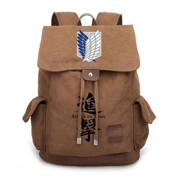 Cool Attack on Titan Anime  Backpack Vintage School Bags for Teenagers Boys Girls Canvas Backpack Drawstring Travel Rucksack AT_90_11