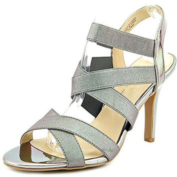 Ann Marino by Bettye Muller Daphne Women Open-Toe Canvas Silver Slingback Heel
