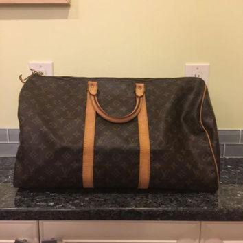 VLX9RV Vintage Louis Vuitton keepall 50 duffle travel monogram bag