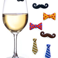 Mustache Wine Charms & Magnetic Drink Markers for Stemless Glasses, Beer Mugs & More - Set of 6 'Staches and Ties - Perfect Wine Gift for Him