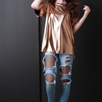 Metallic Round Neck Short Sleeve Tee