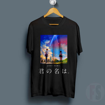 Your Name Anime Kimi no na wa Mitsuha Harajuku Unisex Black White T Shirt