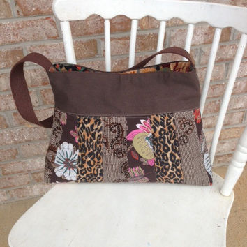 Ecofriendly MERRY Brown Cheetah Patchwork Purse, Quilted Bag, Vegan Purse, Boho Bag -- Upcycled Recycled Repurposed