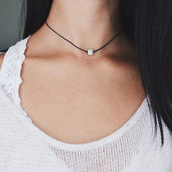 white marble stone bead choker - marble bead, black cord, minimal, delicate, dainty