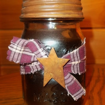 Primitive Mason Jar Cinnamon Candle, Rustic Country Home Decor, Gift Idea