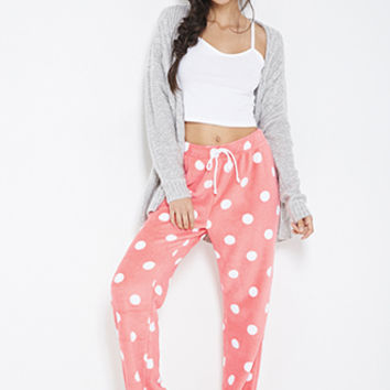 FOREVER 21 Plush Polka Dot PJ Pants Coral/Cream