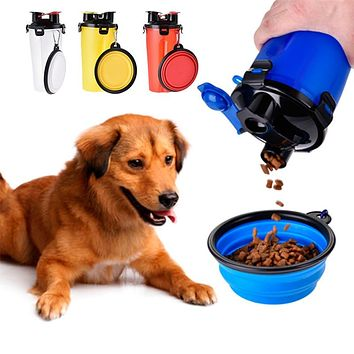 2-in-1 Travel Dog Food and Water Feeder with Free Collapsible Bowl