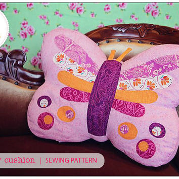 Butterfly Cushion Pattern PDF Sewing Pattern Butterfly Pillow Novelty Cushion Bedroom or Nursery Decor