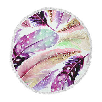 "83 Oranges ""Feathers"" Brown Purple Painting Round Beach Towel Blanket"
