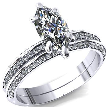 Nancy Marquise Moissanite 6 Prong 1/2 Eternity Diamond Knife Shank Accent Engagement Ring