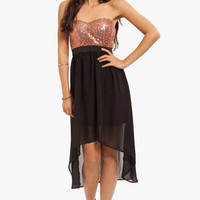 Sweetheart Sequin Banded Corset Hi Low Dress $33