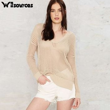 Women Knitted V Neck Hollow Out Casual Pullovers