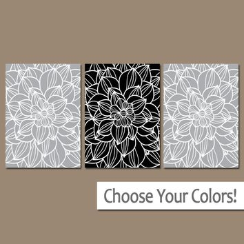 Gray Black Bedroom Pictures, CANVAS or Prints Gray Bathroom Decor  Bedroom Pictures, Flower Wall Art, Pictures, Dahlia Flower Set of 3 Home