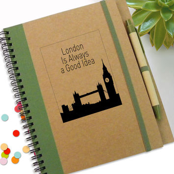 London Skyline, London Notebook, Customed Travel Notebookl, Travel Gift Notebook, Personal Journal, Spiral Notebook, Personalised Notepad