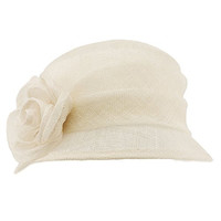 Summer 1920s Flapper Sinamay Floral Cloche Bucket Millinery Church Hat Ivory