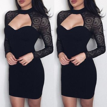 USA Fashion Women Long Sleeve Bodycon Cocktail Evening Party Pencil Mini Dress