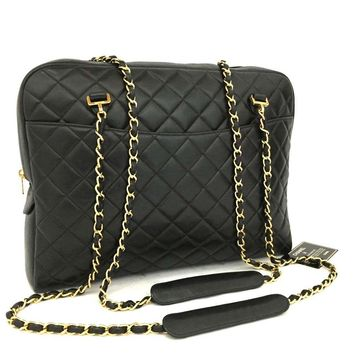 CHANEL Quilted Matelasse Lambskin CC Logo Chain Shoulder Tote Bag Black /m237