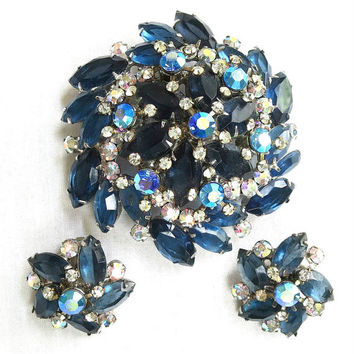 Vintage Verified JULIANA Large & High Domed Sapphire Blue and Aurora Borealis Rhinestones Brooch and Earrings Demi Parure Set