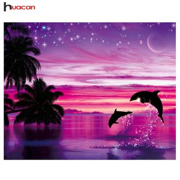 5D Diamond Painting Dolphins in the Pink Moonlight Kit