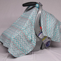 Chevron Baby Boy Car Seat Canopy, Baby Shower Gift, Baby Boy Infant Car Seat Canopies, Baby Boy Gift
